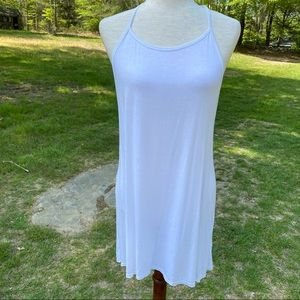 JOAH BROWN TOP TEE TANK WHITE T-BACK ONE SIZE USA
